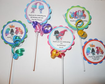 "36 Trolls party favors 2"" hard candy swirl lollipops Personalized 2nd 3rd 4th 5th 6th 7th 8th 9th Birthday favors custom tags"