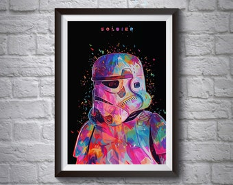 Stormtrooper Pop-Art Poster - Wall Art Poster - A4 A3 Poster - Star Wars Poster - Printed Movie Poster - Boys Room Decor - Star Wars Print