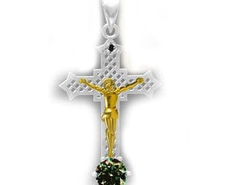 Beautiful Natural Black Diamond and Green/Brown Moissanite Christian Cross Silver Pendant