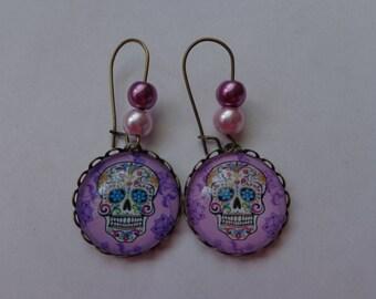 "Earrings cabochon 20mm ""Death's head"" theme."