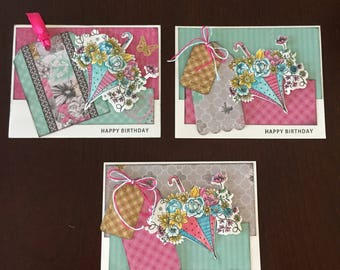Bundled Set of Three Birthday Cards with Floral Umbrella, hand stamped and colored, multi layers patterned paper