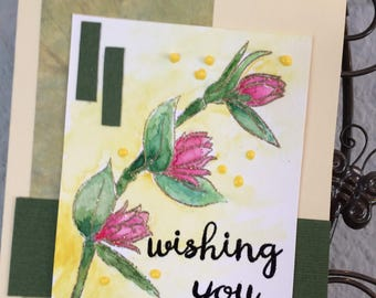 Lovely Water colored, Hand stamped floral card, beautiful encouraging sentiment, friendship, for her, birthday, thinking of you