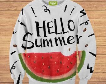 TeenMango Colorful Hello Summer Watermelon Sweater (fullprint, colorfull) free worldwide shipping