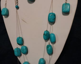 Handmade Turquoise and Sterling Silver Jewelry Set