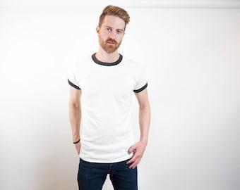 Mens Vintage T-Shirt /Retro Unisex Medium White Tee / Casual Short Sleeved Sporty Summer Beach Shirt