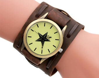 Vintage Steampunk Men Leather Wide Band Wrist Watch