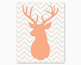 DEER CHEVRON Art, Buck Antlers, Deer Nursery, Girl Nursery Printable, Woodlands Nursery, Baby Shower Gift, DIY Nursery Art, Instant Download