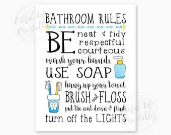 BATHROOM RULES, Kids Bathroom Sign, Family Bathroom Rules, Bathroom Wall Art, Bathroom Decor, Bathroom Printables, Instant Download