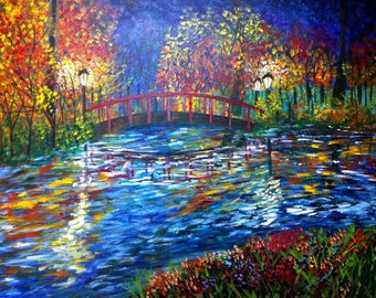 Bridge painting - night landscape - bridge at night - gift for her - wet bridge - impressionist painting - canvas painting - landscape