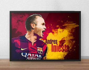 Andres Iniesta - iniesta - Barcelona Fc - Barcelona poster - Soccer poster - Soccer art - Art Gifts - Football gifts