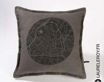 Card Lille gray linen pillow cover