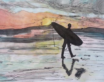 Surfing at sunset - original watercolour