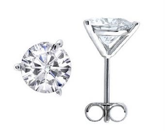 0.25 CTW Round White Diamond Martini Stud Earrings in 14K Gold