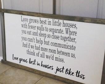 Farmhouse Love Grows Wood sign