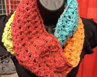 Bright and Colorful Crochet Infinity Scarf