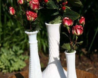 Assorted Milk Glass Vases - Set of Four (4)
