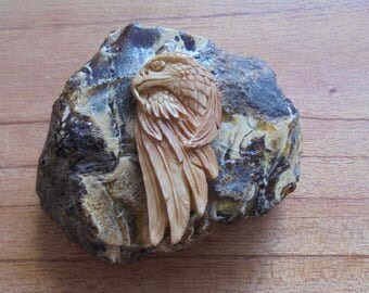 Hand Carved Eagle Pendant, Brown Eagle, Bali Bone Carving P78