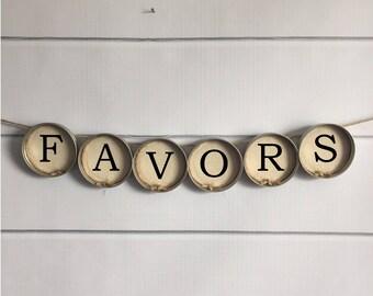 "Wedding Banner - ""Favors"" Rustic Style Mason Jar Lid Bunting (Item 1226H)"