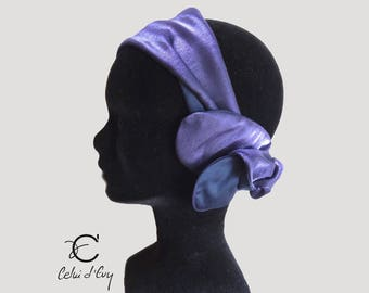 Purple headband moire and cotton Navy Blue