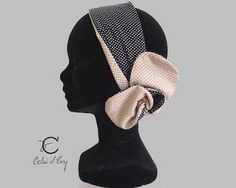 Black and beige headband
