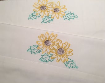 Sunflower Hand Painted Pillow Cases