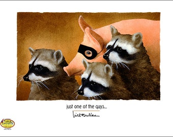 Will Bullas / art print / just one of the guys... / humor / animals / pig / raccoons