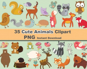 INSTANT DL- 35x Cute animals Clipart - printable Digital Clipart Graphic Instant Download