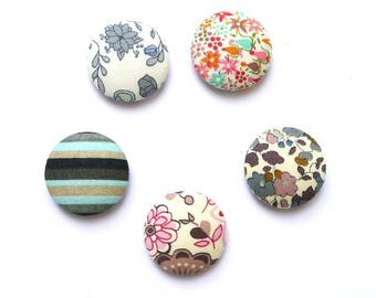 Cabochons 24 mm liberty fabric blend for scrapbooking or jewelry-