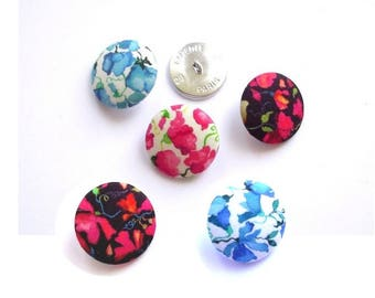 5 buttons covered with liberty fabric Victoria Virginia color and size in OPTIONe