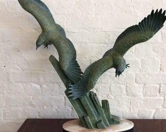 Art Deco Bronzed Eagles Sculpture by RULAS