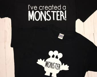 I've created a monster mommy and me tshirt set // halloween // set // monter // boymom // shirts