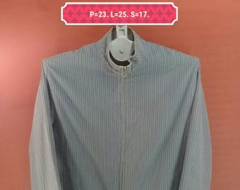 Vintage Paul And Joe Jacket Reversible Jacket Striped Gray Colour Size M France Designer Yohji Yamamoto Comme des Garcons Jackets