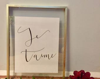 Je T'aime Calligraphy Wall Art