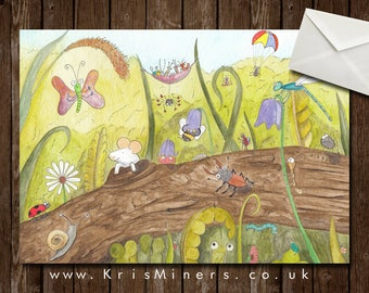 Whimsical Bug Greetings Card - Among the Undergrowth