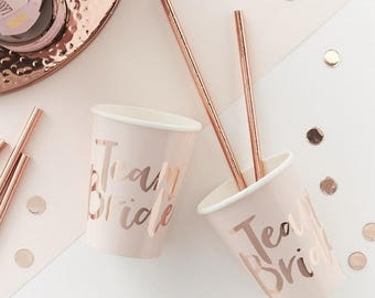 Pink and Rose Gold Foiled Team Bride Cups, Paper Cups, Party Cups, Bachelorette Cups, Hen Party Cups, Rose Gold Cups