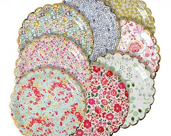 Liberty Large Floral Paper Party Plates, Floral Birthday Plates, Tea Party Plates, Vintage Party, Floral Bridal Shower, Floral Baby Shower
