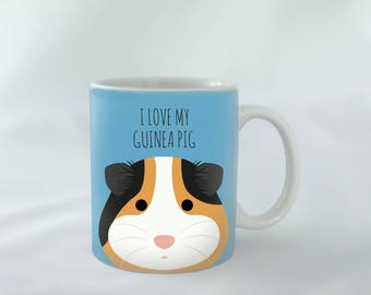 I Love my Guinea Pig Mug personalised | Tricolor Pig | Different colours available | Custom name mugs | Guinea Pig Gift