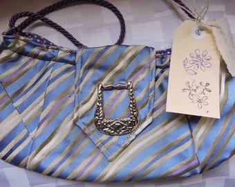 Tie Silk Handmade Lilac and blue stripe bag