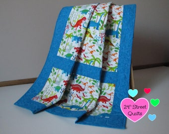 Baby Quilt, Baby Blanket, Crib Quilt   Dinosaurs