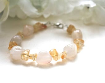 Yellow citrine chips and white stone bracelet