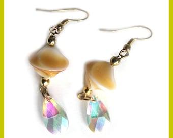 Drop earrings Crystal, preciosa and sand color