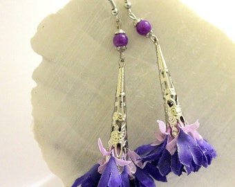 Blue and purple flower earrings