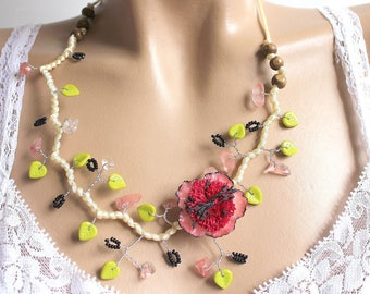 Necklace branch pink flower and leaf green opaque