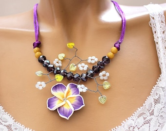 Purple and yellow necklace beaded flower Monoi