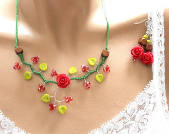 Set of jewelry mother's day red and green