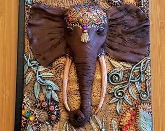 Polymer clay, Elephant book cover , journal, notebook,elephant journal,elephant, jungle, ooak , wild,clay elephant book cover,clay art.