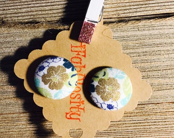 Golden Hibiscus with Blue Floral Print