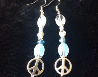 Peace symbol and quartz drop earrings
