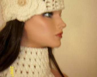 crochet freeform headband and scarf set. scarf and headband with large flower, cream and gold color