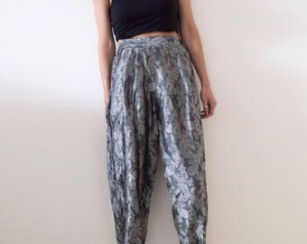 Oriental Mom Trousers, Paisley/Brocade Print in Charcoal and Silver